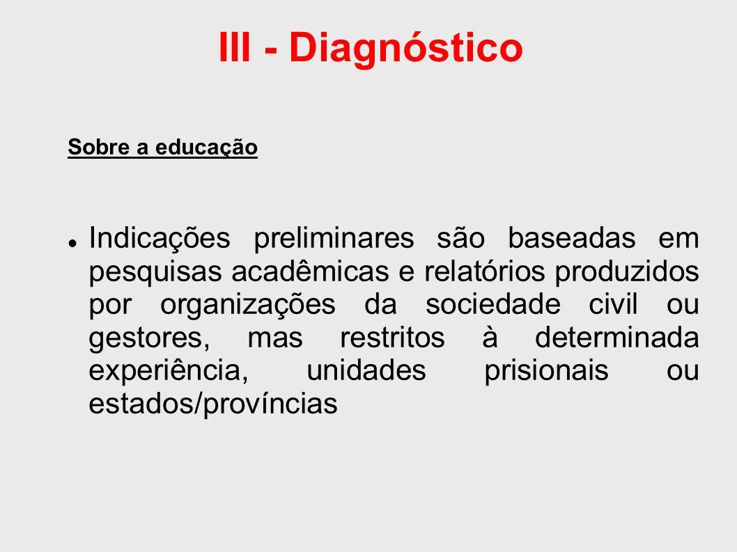 III - Diagnóstico Sobre a educação Não há informações sobre o perfil ou atuação do preso-educador no Brasil: dados do Ministério da Justiça;