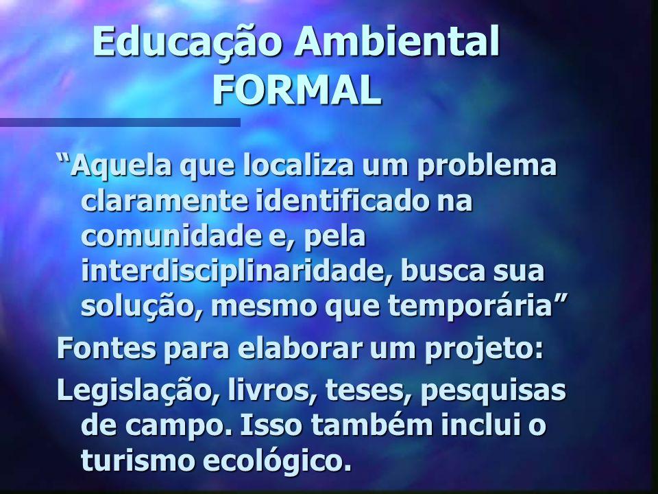 Educação Ambiental FORMAL Aquela que localiza um problema claramente identificado na comunidade e, pela interdisciplinaridade, busca sua solução, mesm