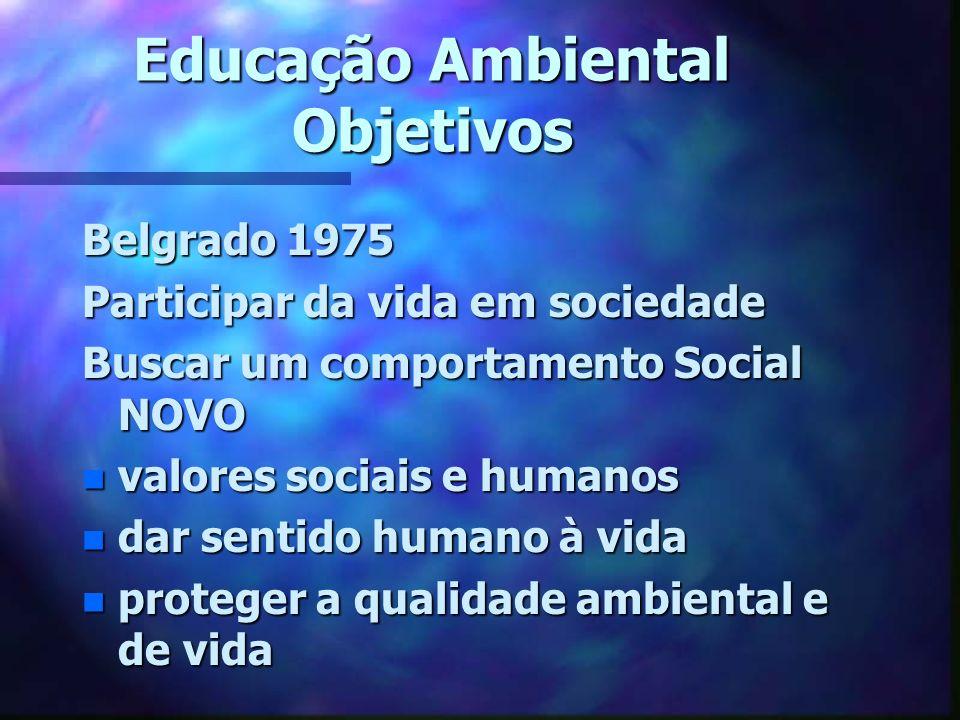 Educação Ambiental Objetivos Belgrado 1975 Participar da vida em sociedade Buscar um comportamento Social NOVO n valores sociais e humanos n dar senti