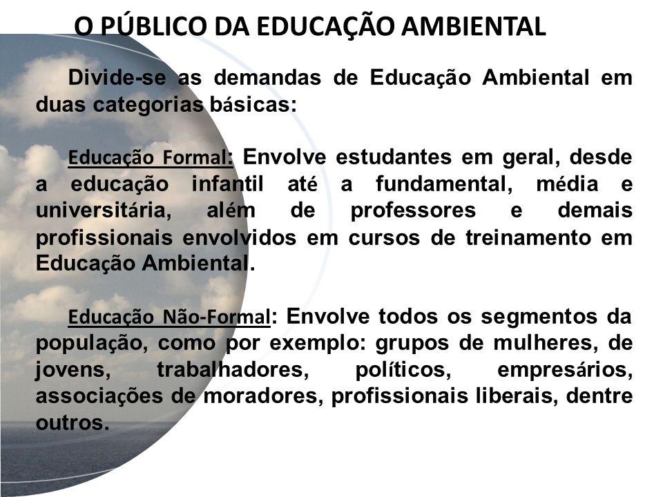 O PÚBLICO DA EDUCAÇÃO AMBIENTAL Divide-se as demandas de Educa ç ão Ambiental em duas categorias b á sicas: Educação Formal : Envolve estudantes em ge