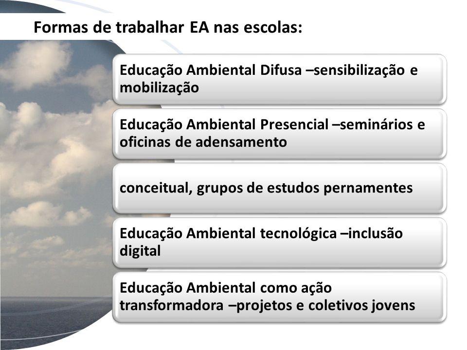 Formas de trabalhar EA nas escolas: Educação Ambiental Difusa –sensibilização e mobilização Educação Ambiental Presencial –seminários e oficinas de ad