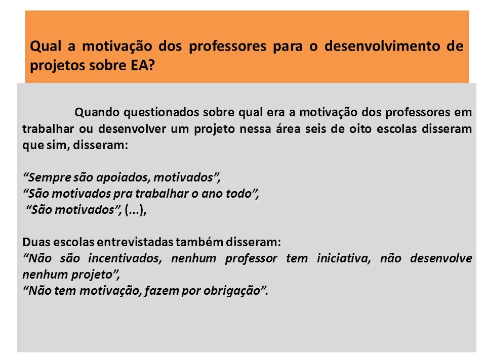 Qual a motivação dos professores para o desenvolvimento de projetos sobre EA? Quando questionados sobre qual era a motivação dos professores em trabal