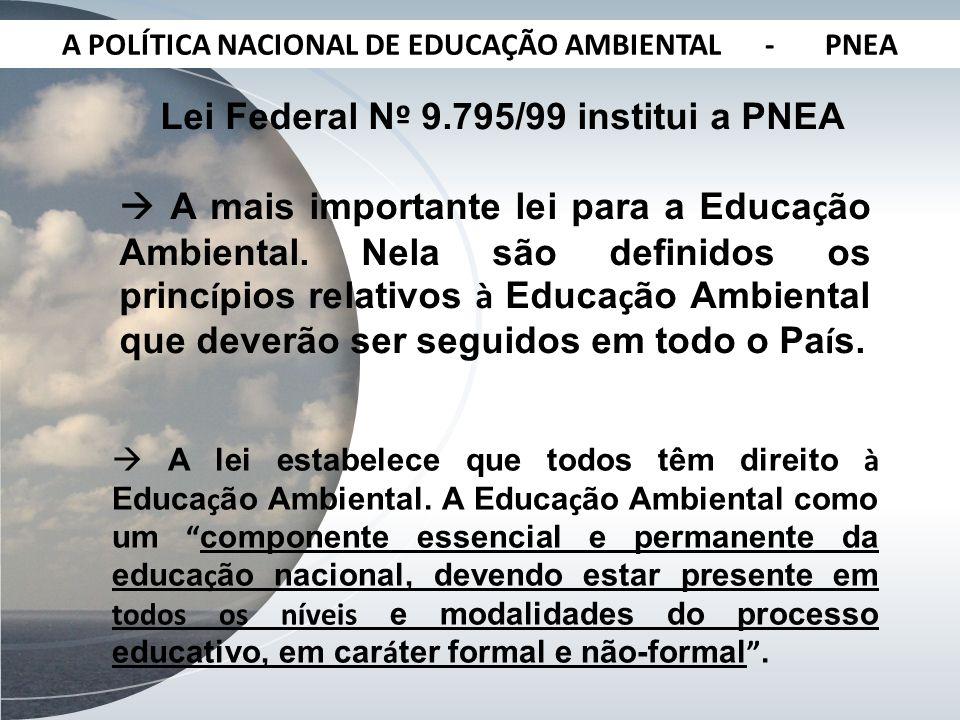 A POLÍTICA NACIONAL DE EDUCAÇÃO AMBIENTAL - PNEA Lei Federal N º 9.795/99 institui a PNEA A mais importante lei para a Educa ç ão Ambiental. Nela são