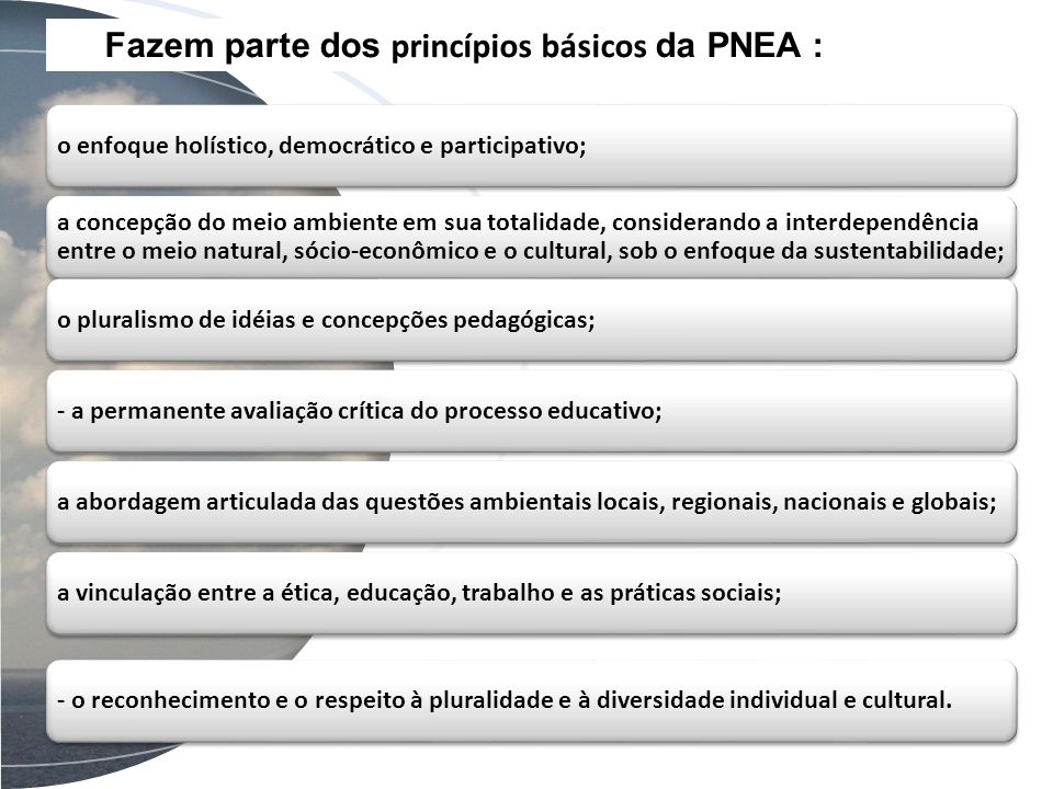 Fazem parte dos princípios básicos da PNEA : o enfoque holístico, democrático e participativo; a concepção do meio ambiente em sua totalidade, conside