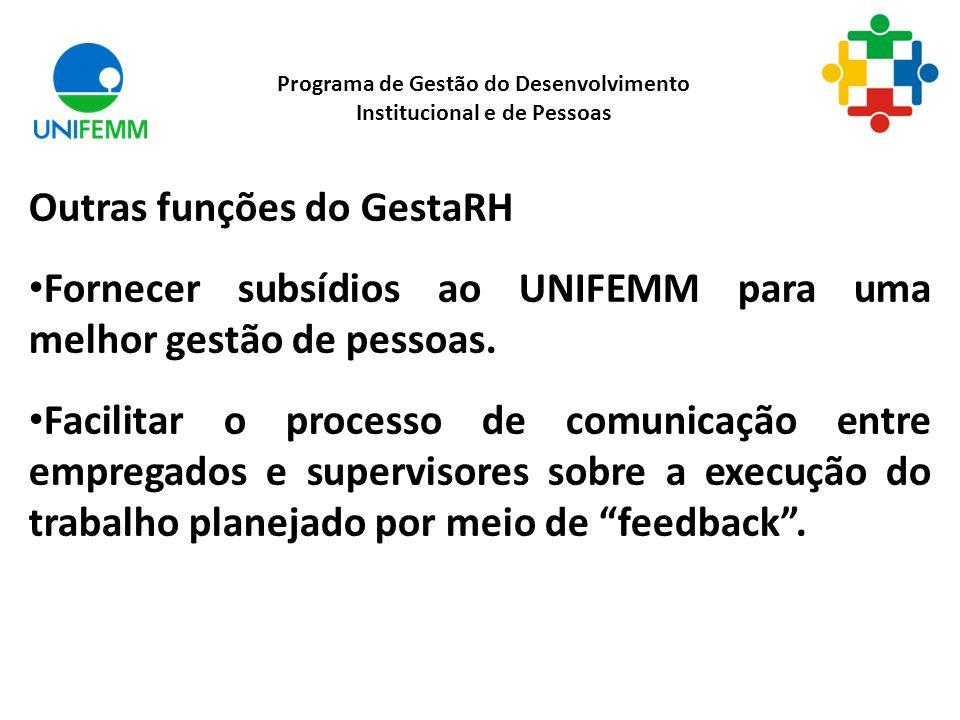 Outras funções do GestaRH Fornecer subsídios ao UNIFEMM para uma melhor gestão de pessoas.