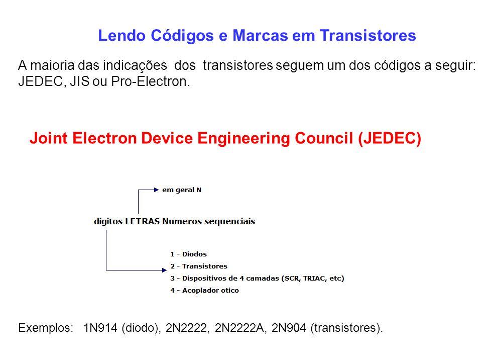 Lendo Códigos e Marcas em Transistores A maioria das indicações dos transistores seguem um dos códigos a seguir: JEDEC, JIS ou Pro-Electron. Joint Ele