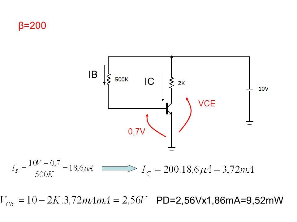β=200 VCE IB IC 0,7V PD=2,56Vx1,86mA=9,52mW