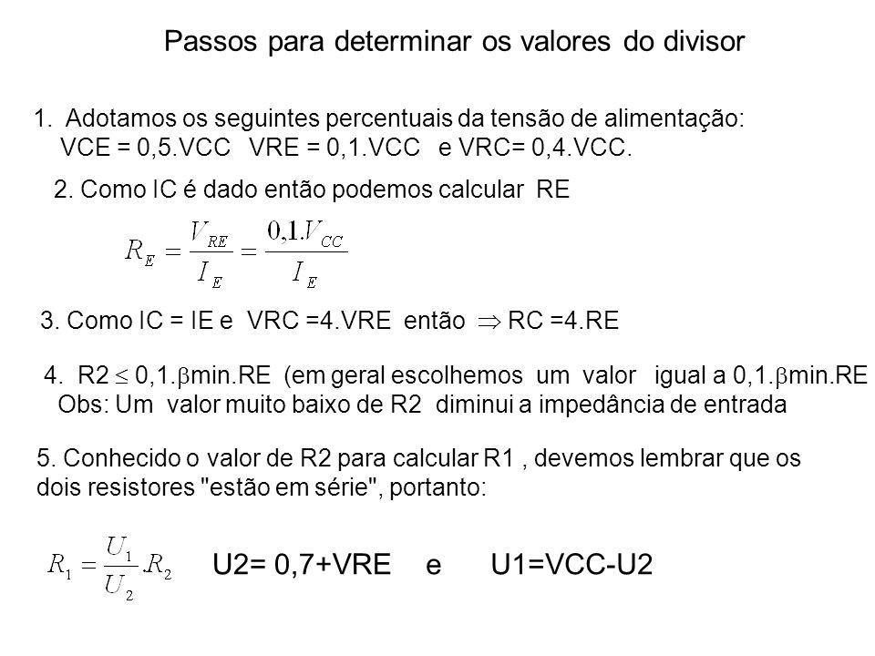 Passos para determinar os valores do divisor 1.Adotamos os seguintes percentuais da tensão de alimentação: VCE = 0,5.VCC VRE = 0,1.VCC e VRC= 0,4.VCC.