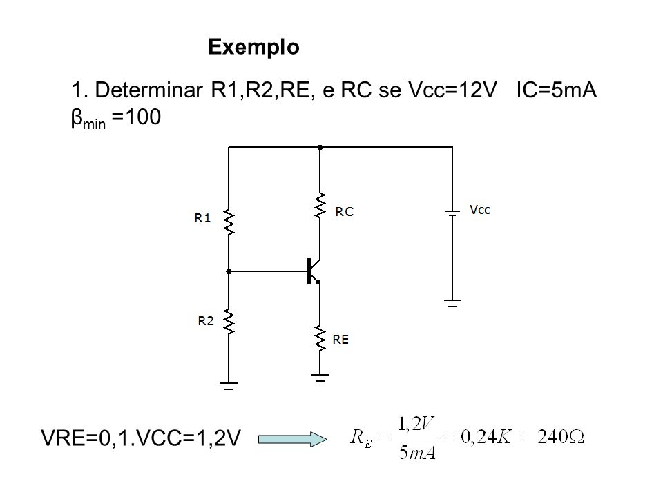 Exemplo 1. Determinar R1,R2,RE, e RC se Vcc=12V IC=5mA β min =100 VRE=0,1.VCC=1,2V