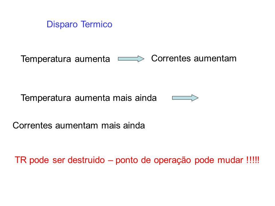 Disparo Termico Temperatura aumenta Correntes aumentam Temperatura aumenta mais ainda Correntes aumentam mais ainda TR pode ser destruido – ponto de o