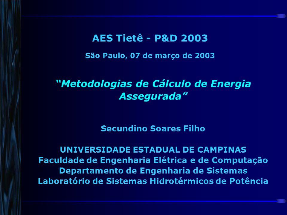 AES Tietê - P&D 2003 São Paulo, 07 de março de 2003 Metodologias de Cálculo de Energia Assegurada Secundino Soares Filho UNIVERSIDADE ESTADUAL DE CAMP