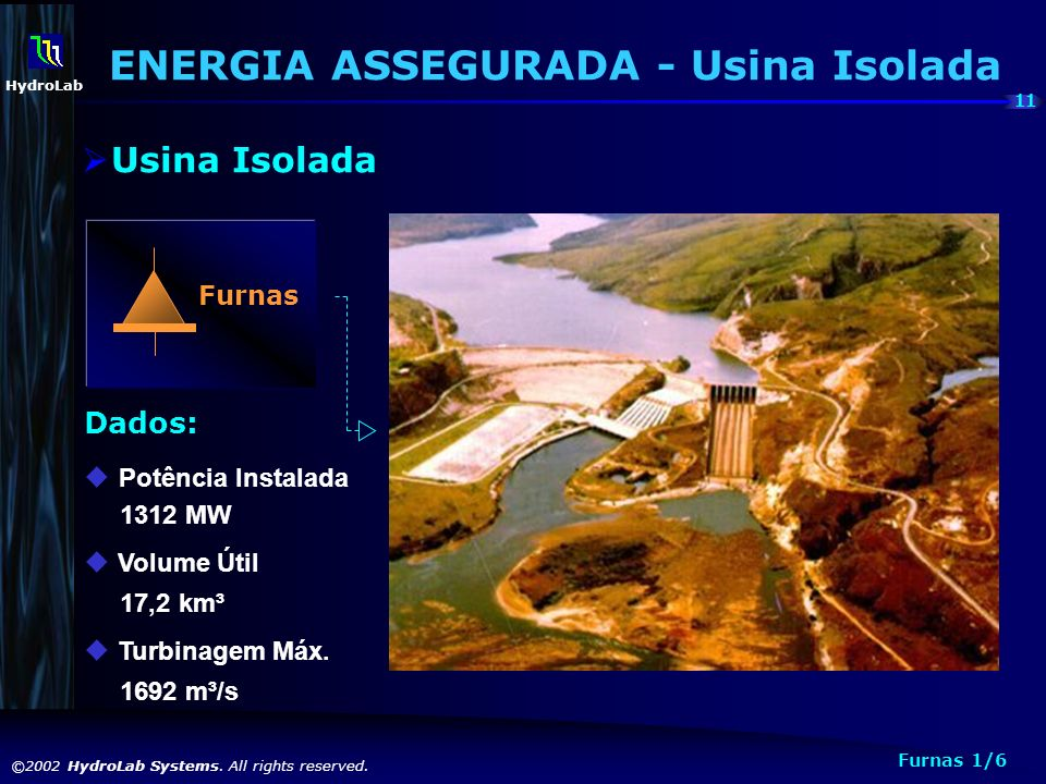 11 ©2002 HydroLab Systems. All rights reserved. HydroLab Furnas Dados: Potência Instalada 1312 MW u Volume Útil 17,2 km³ u Turbinagem Máx. 1692 m³/s F