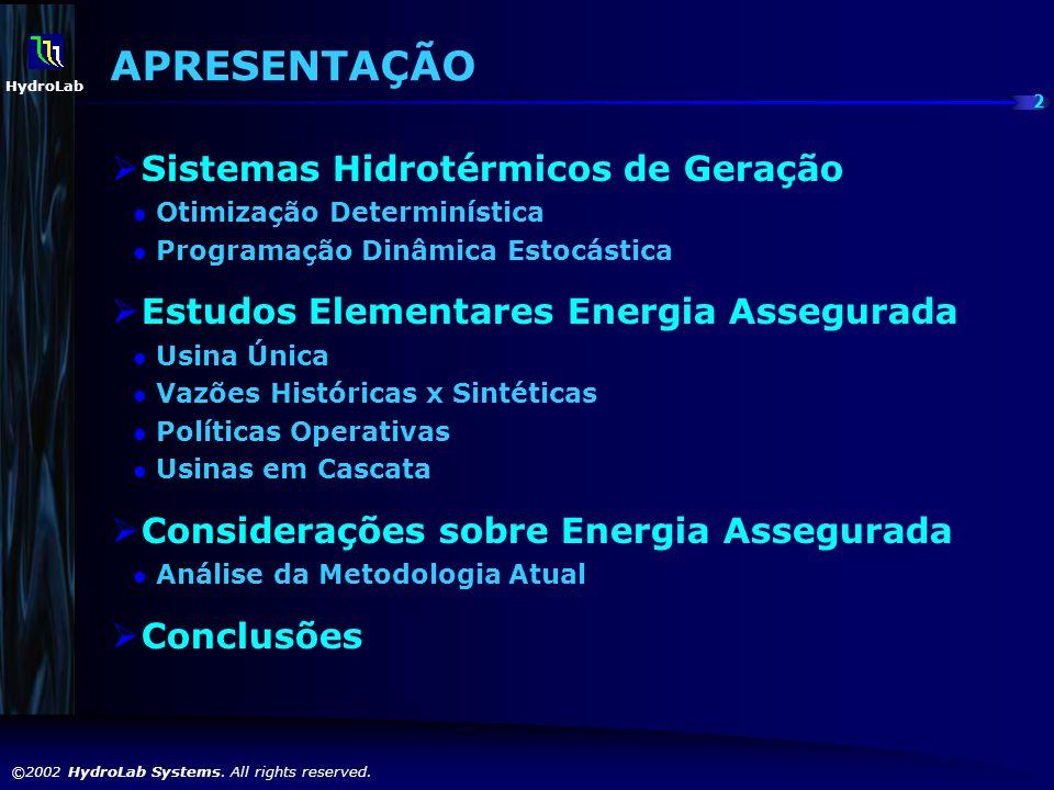 2 ©2002 HydroLab Systems. All rights reserved. HydroLab APRESENTAÇÃO Sistemas Hidrotérmicos de Geração Otimização Determinística Programação Dinâmica
