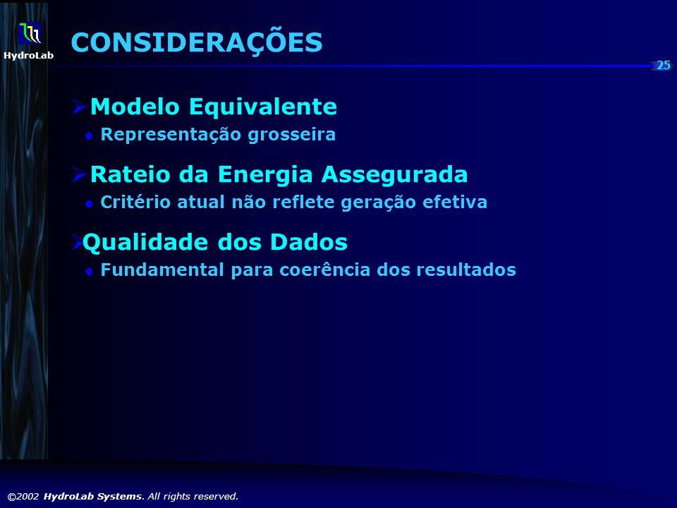 25 ©2002 HydroLab Systems. All rights reserved. HydroLab CONSIDERAÇÕES Modelo Equivalente Representação grosseira Rateio da Energia Assegurada Critéri