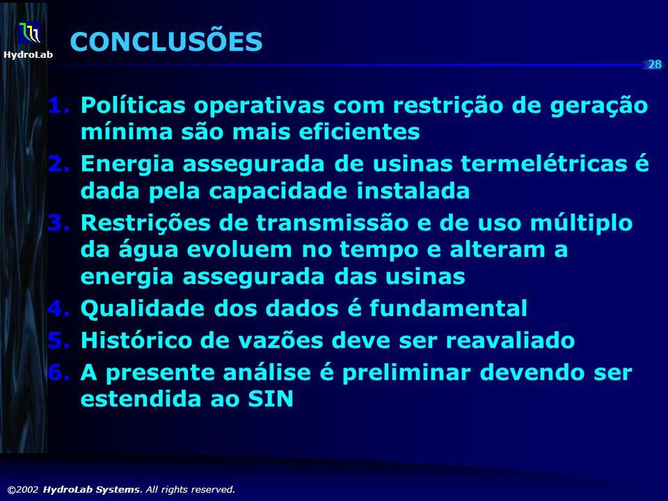 28 ©2002 HydroLab Systems. All rights reserved. HydroLab CONCLUSÕES 1.Políticas operativas com restrição de geração mínima são mais eficientes 2.Energ