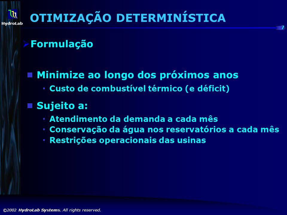 7 ©2002 HydroLab Systems. All rights reserved. HydroLab Minimize ao longo dos próximos anos Custo de combustível térmico (e déficit) Sujeito a: Atendi
