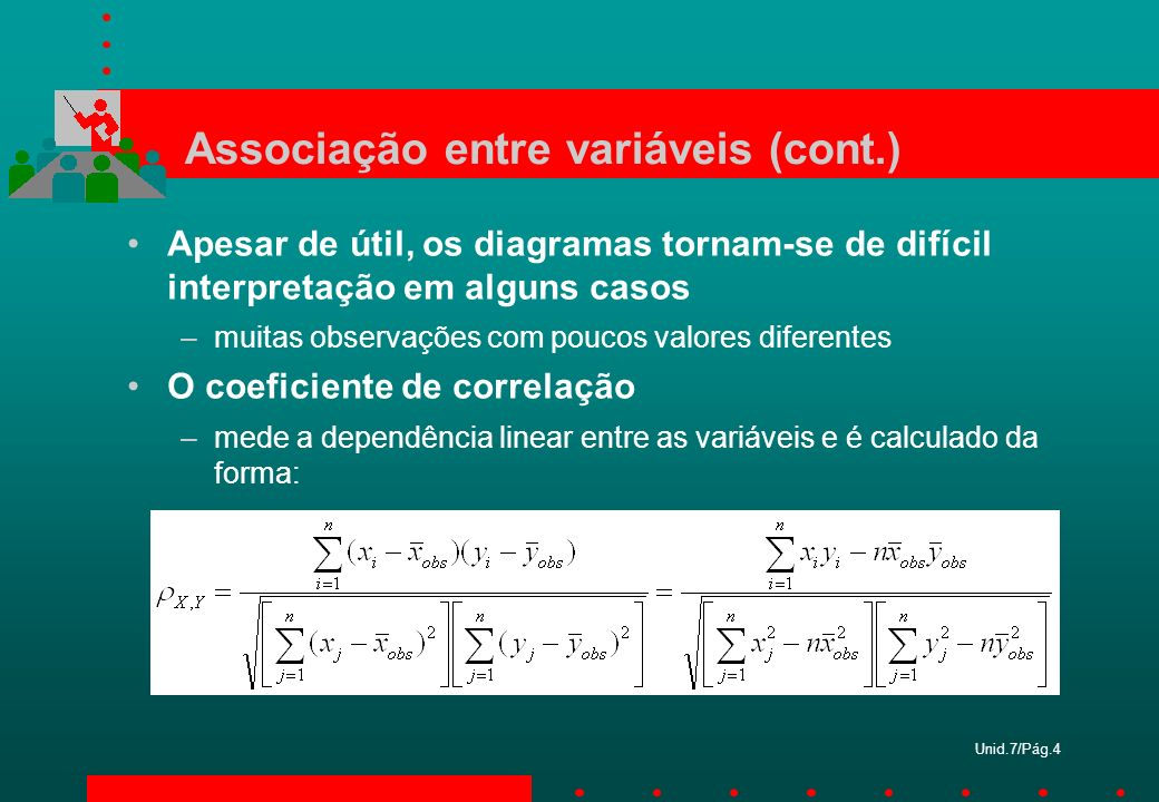 Unid.7/Pág.4 Associação entre variáveis (cont.) Apesar de útil, os diagramas tornam-se de difícil interpretação em alguns casos –muitas observações co