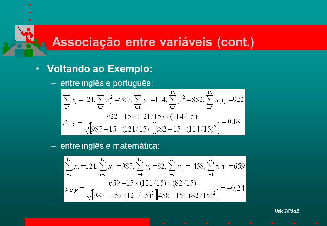 Unid.7/Pág.5 Associação entre variáveis (cont.) Voltando ao Exemplo: –entre inglês e português: –entre inglês e matemática: