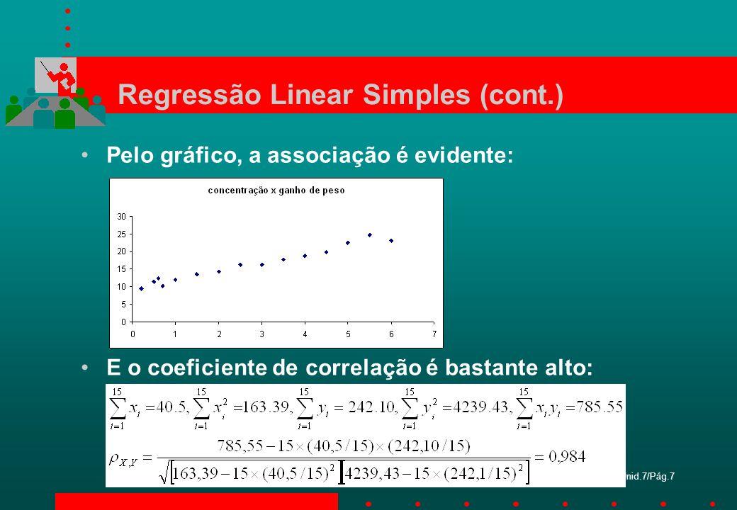 Unid.7/Pág.7 Regressão Linear Simples (cont.) Pelo gráfico, a associação é evidente: E o coeficiente de correlação é bastante alto: