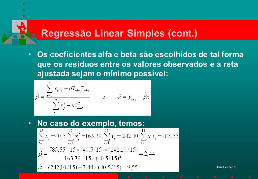 Unid.7/Pág.9 Regressão Linear Simples (cont.) Os coeficientes alfa e beta são escolhidos de tal forma que os resíduos entre os valores observados e a
