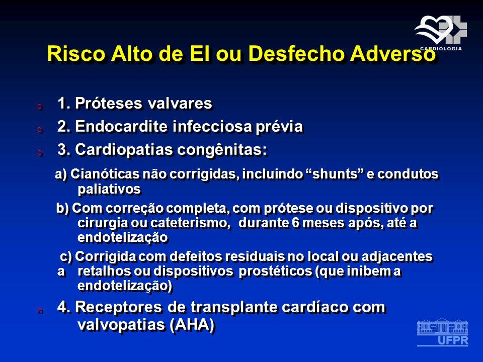 Risco Alto de EI ou Desfecho Adverso o 1. Próteses valvares o 2. Endocardite infecciosa prévia o 3. Cardiopatias congênitas: a) Cianóticas não corrigi