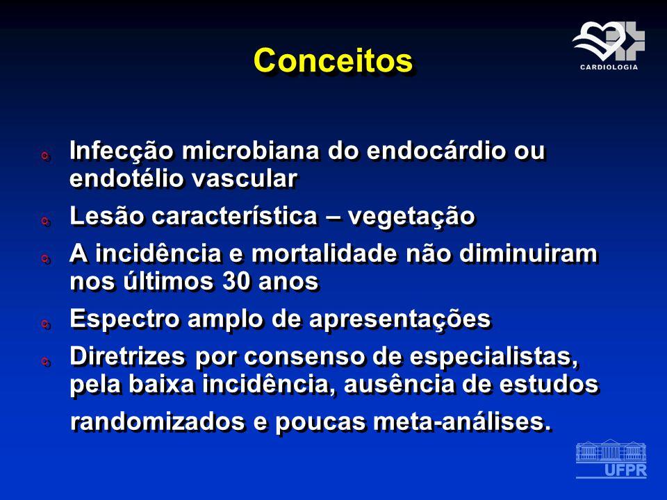ConceitosConceitos o Infecção microbiana do endocárdio ou endotélio vascular o Lesão característica – vegetação o A incidência e mortalidade não dimin