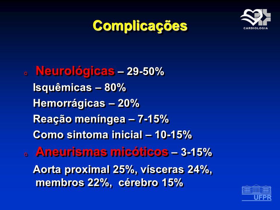 ComplicaçõesComplicações o Neurológicas – 29-50% Isquêmicas – 80% Hemorrágicas – 20% Reação meníngea – 7-15% Como sintoma inicial – 10-15% o Aneurisma