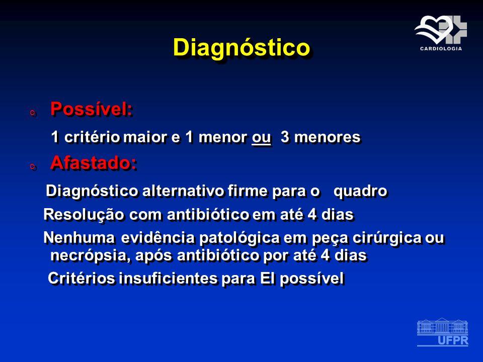DiagnósticoDiagnóstico o Possível: 1 critério maior e 1 menor ou 3 menores o Afastado: Diagnóstico alternativo firme para o quadro Resolução com antib