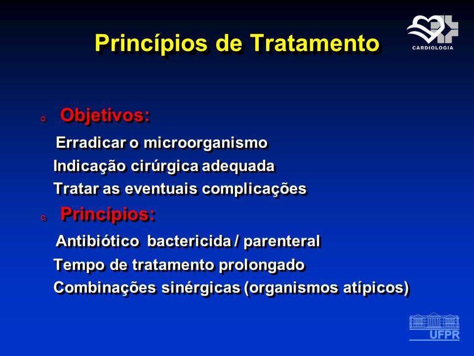 Princípios de Tratamento o Objetivos: Erradicar o microorganismo Indicação cirúrgica adequada Tratar as eventuais complicações o Princípios: Antibióti