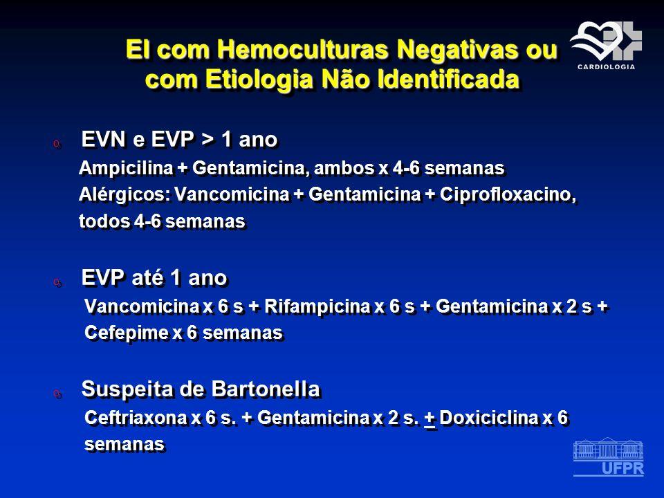 EI com Hemoculturas Negativas ou com Etiologia Não Identificada EI com Hemoculturas Negativas ou com Etiologia Não Identificada o EVN e EVP > 1 ano Am