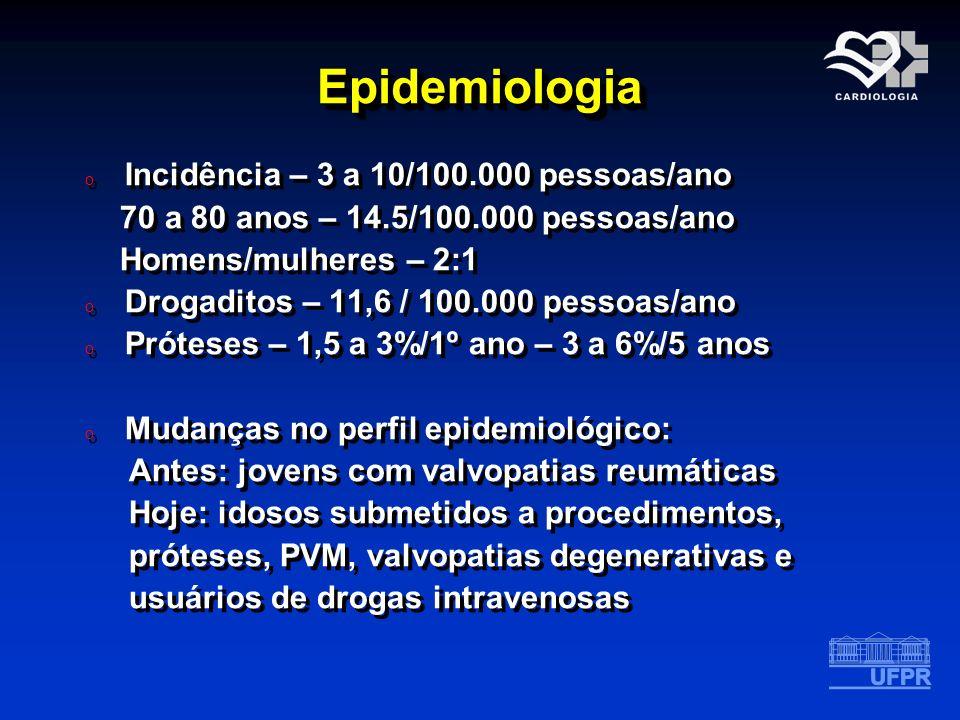 EpidemiologiaEpidemiologia o Incidência – 3 a 10/100.000 pessoas/ano 70 a 80 anos – 14.5/100.000 pessoas/ano Homens/mulheres – 2:1 o Drogaditos – 11,6