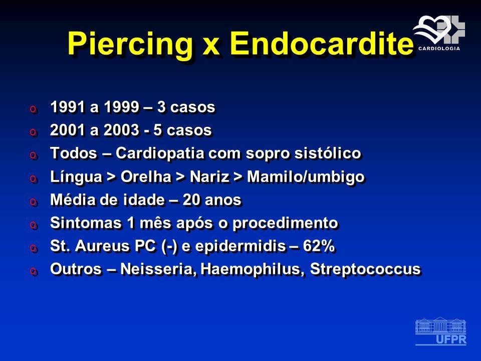 Piercing x Endocardite o 1991 a 1999 – 3 casos o 2001 a 2003 - 5 casos o Todos – Cardiopatia com sopro sistólico o Língua > Orelha > Nariz > Mamilo/um
