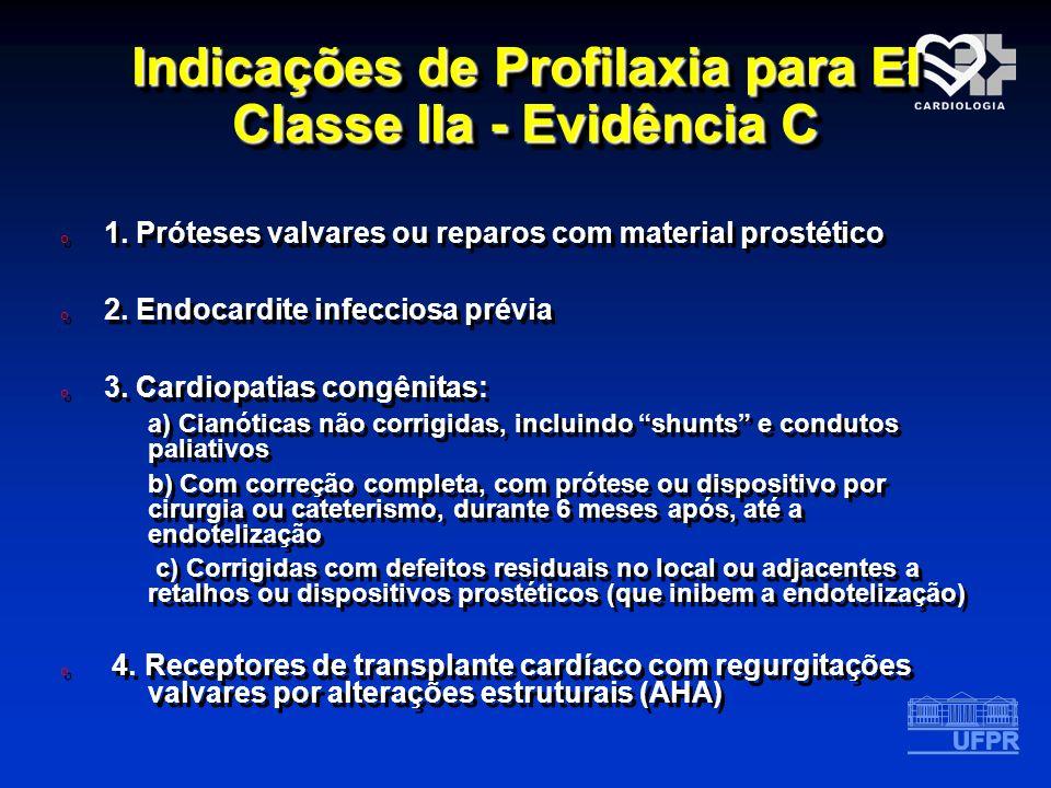 Indicações de Profilaxia para EI Classe IIa - Evidência C o 1. Próteses valvares ou reparos com material prostético o 2. Endocardite infecciosa prévia