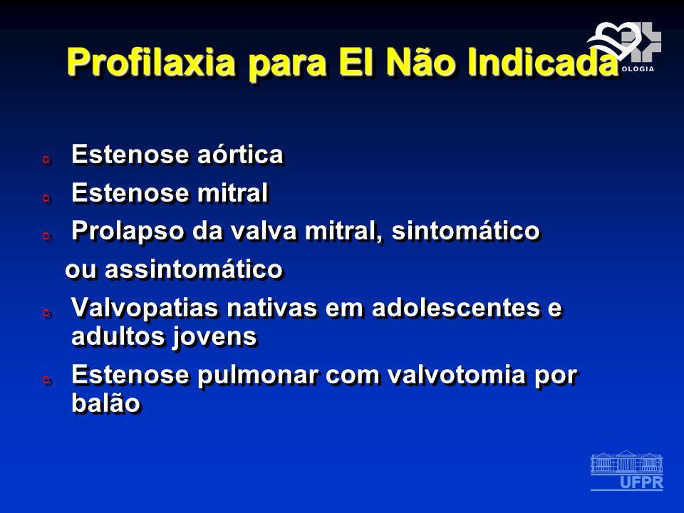 Profilaxia para EI Não Indicada o Estenose aórtica o Estenose mitral o Prolapso da valva mitral, sintomático ou assintomático o Valvopatias nativas em