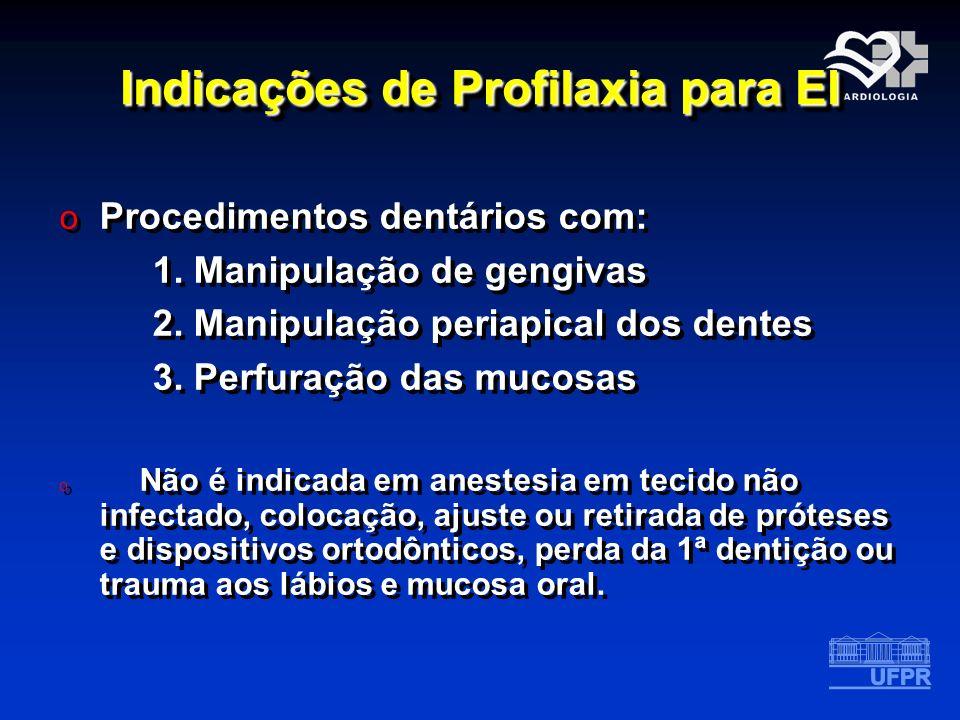 Indicações de Profilaxia para EI o Procedimentos dentários com: 1. Manipulação de gengivas 2. Manipulação periapical dos dentes 3. Perfuração das muco