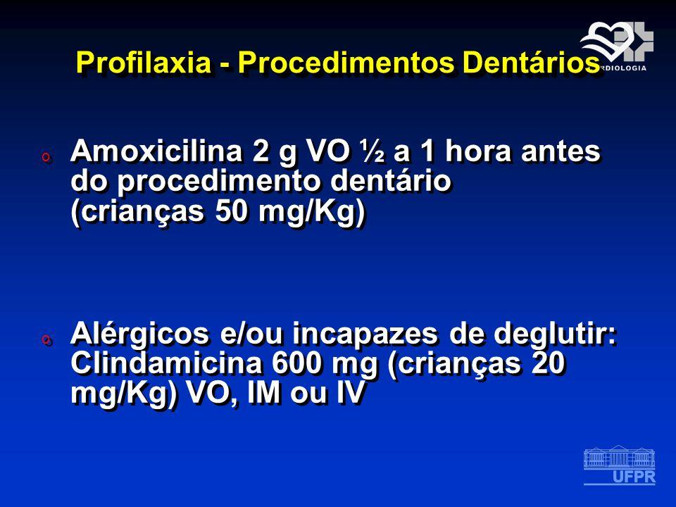 Profilaxia - Procedimentos Dentários o Amoxicilina 2 g VO ½ a 1 hora antes do procedimento dentário (crianças 50 mg/Kg) o Alérgicos e/ou incapazes de