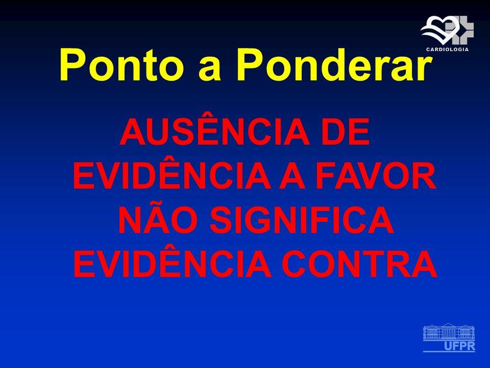 Ponto a Ponderar AUSÊNCIA DE EVIDÊNCIA A FAVOR NÃO SIGNIFICA EVIDÊNCIA CONTRA