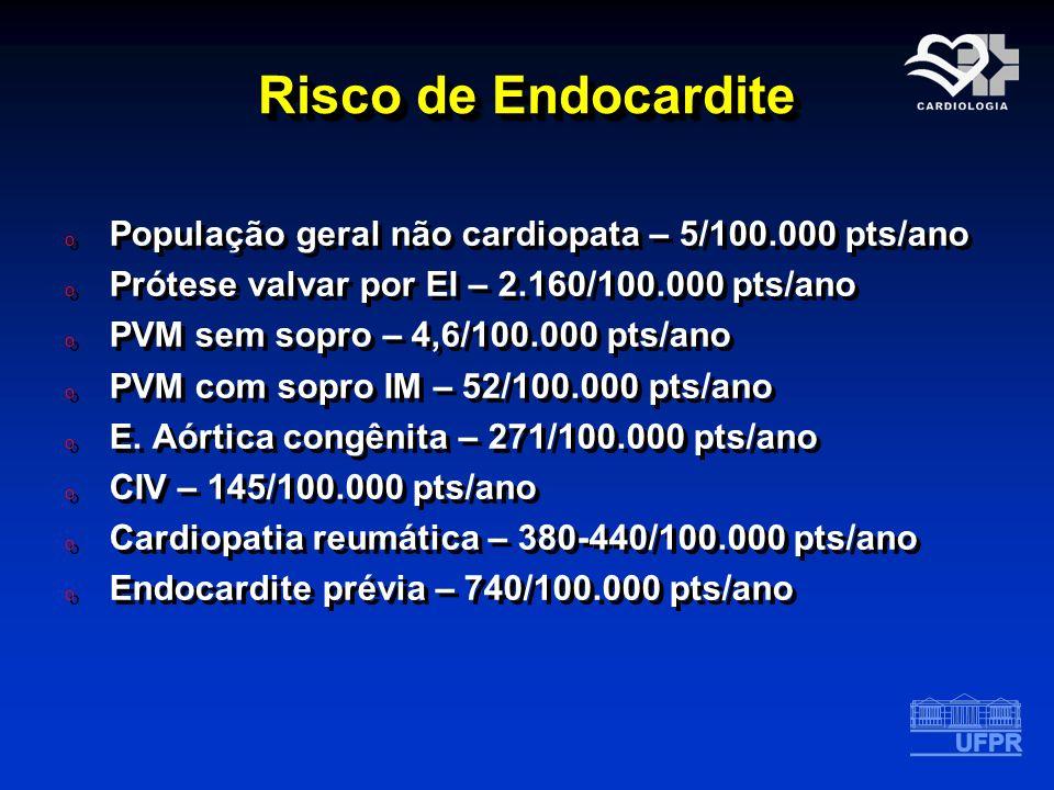 Risco de Endocardite o População geral não cardiopata – 5/100.000 pts/ano o Prótese valvar por EI – 2.160/100.000 pts/ano o PVM sem sopro – 4,6/100.00