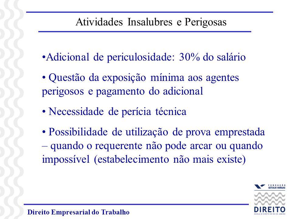 Direito Empresarial do Trabalho Adicional de periculosidade: 30% do salário Questão da exposição mínima aos agentes perigosos e pagamento do adicional