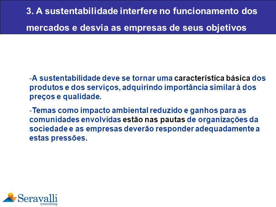 3. A sustentabilidade interfere no funcionamento dos mercados e desvia as empresas de seus objetivos -A sustentabilidade deve se tornar uma caracterís