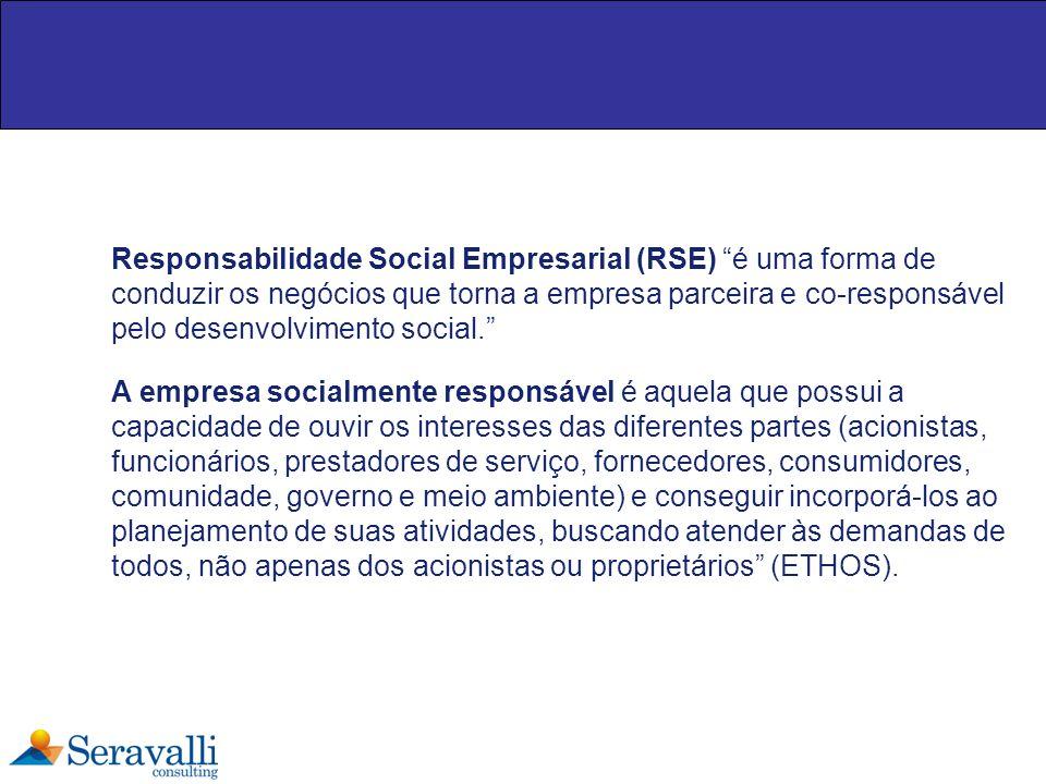 Responsabilidade Social Empresarial (RSE) é uma forma de conduzir os negócios que torna a empresa parceira e co-responsável pelo desenvolvimento socia