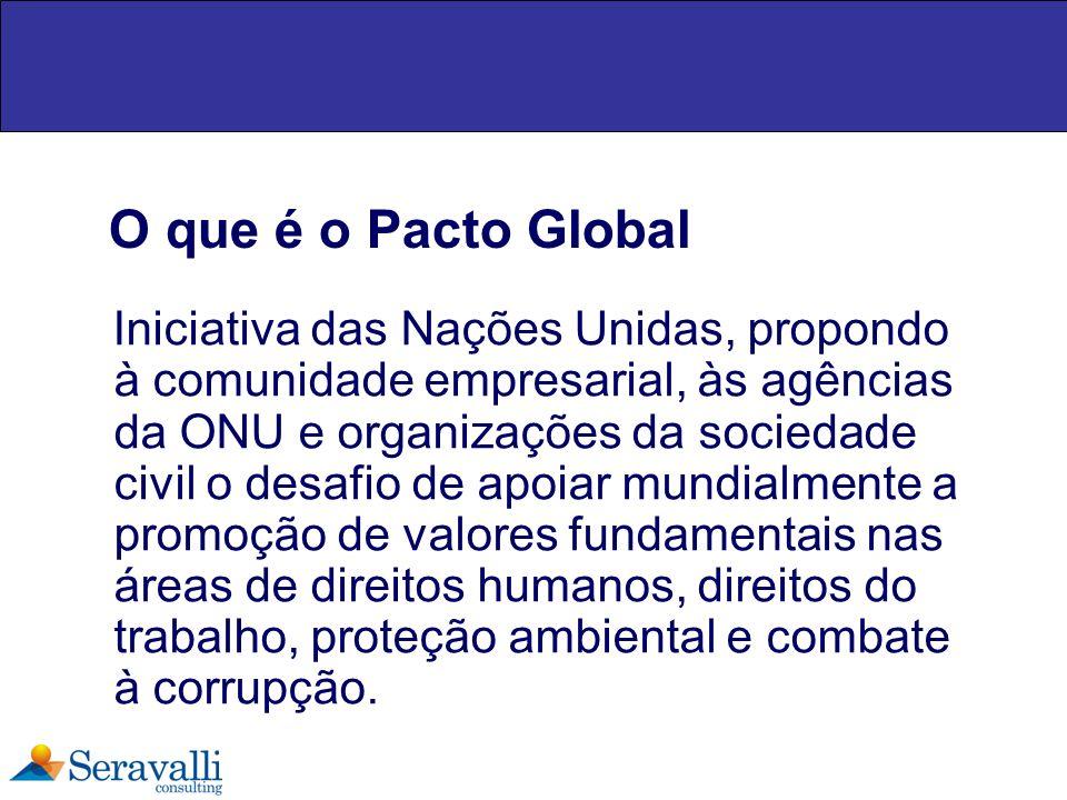 O que é o Pacto Global Iniciativa das Nações Unidas, propondo à comunidade empresarial, às agências da ONU e organizações da sociedade civil o desafio
