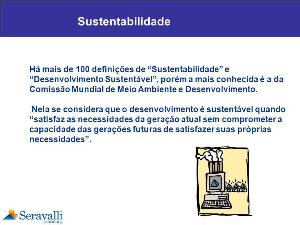 Sustentabilidade Há mais de 100 definições de Sustentabilidade e Desenvolvimento Sustentável, porém a mais conhecida é a da Comissão Mundial de Meio A