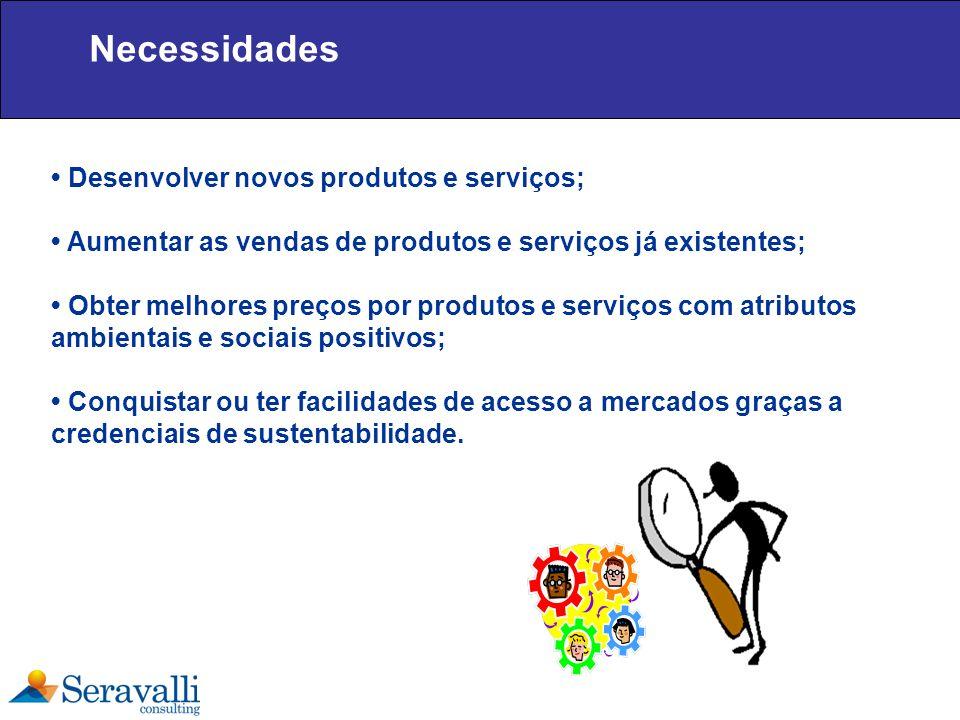 Necessidades Desenvolver novos produtos e serviços; Aumentar as vendas de produtos e serviços já existentes; Obter melhores preços por produtos e serv