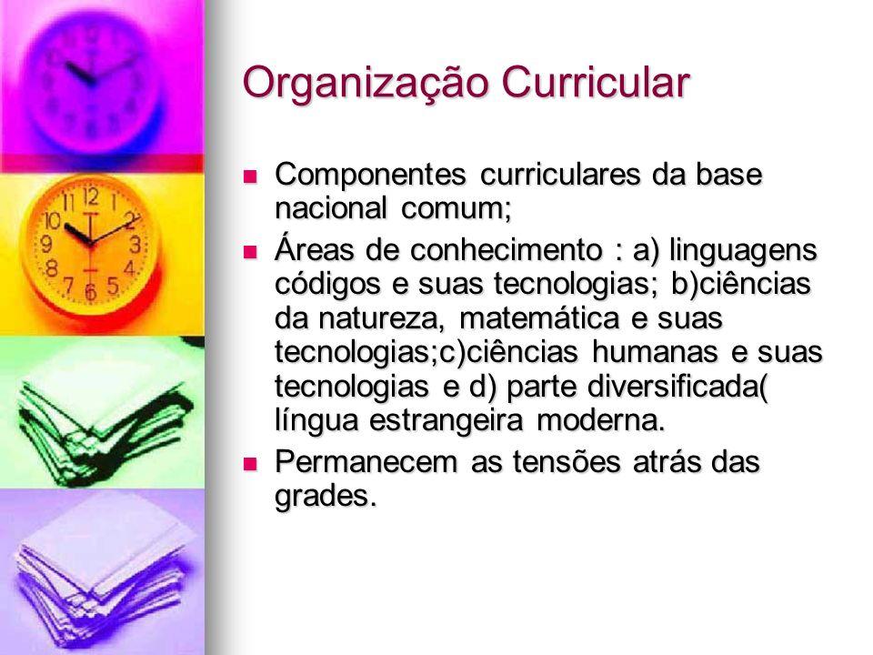 Organização Curricular Componentes curriculares da base nacional comum; Componentes curriculares da base nacional comum; Áreas de conhecimento : a) li