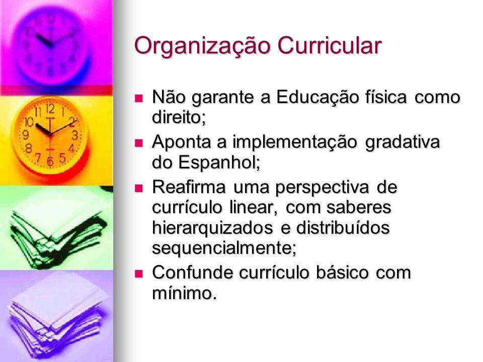Organização Curricular Não garante a Educação física como direito; Não garante a Educação física como direito; Aponta a implementação gradativa do Esp