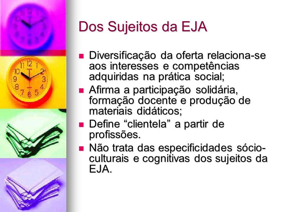 Dos Sujeitos da EJA Diversificação da oferta relaciona-se aos interesses e competências adquiridas na prática social; Diversificação da oferta relacio