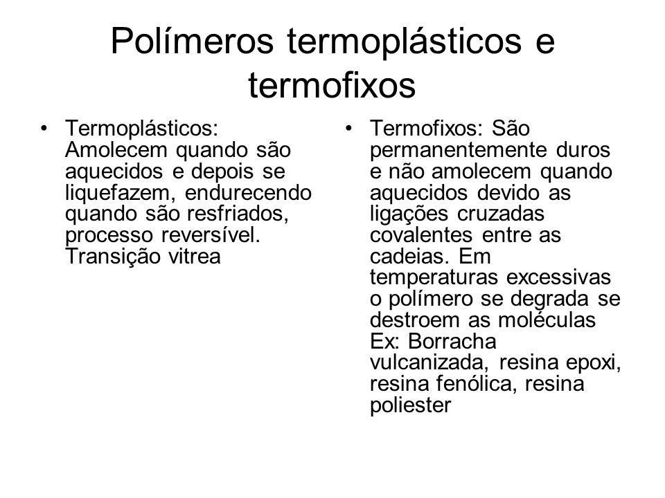 Polímeros termoplásticos e termofixos Termoplásticos: Amolecem quando são aquecidos e depois se liquefazem, endurecendo quando são resfriados, process