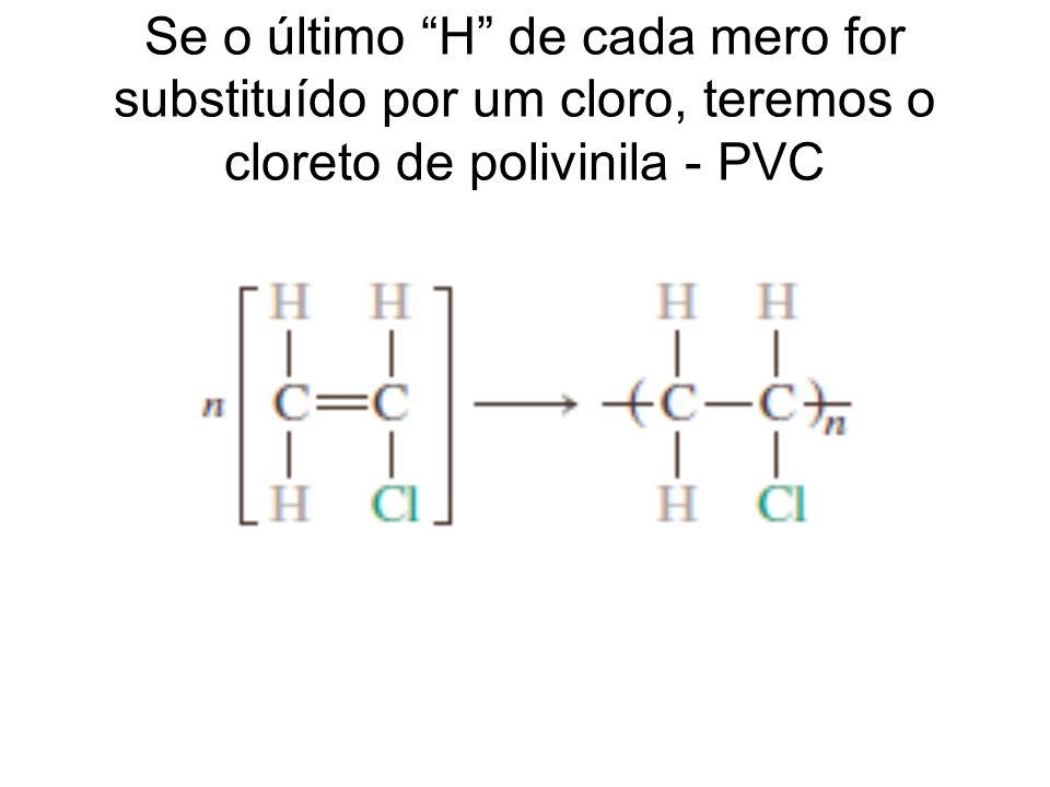 Se o último H de cada mero for substituído por um cloro, teremos o cloreto de polivinila - PVC