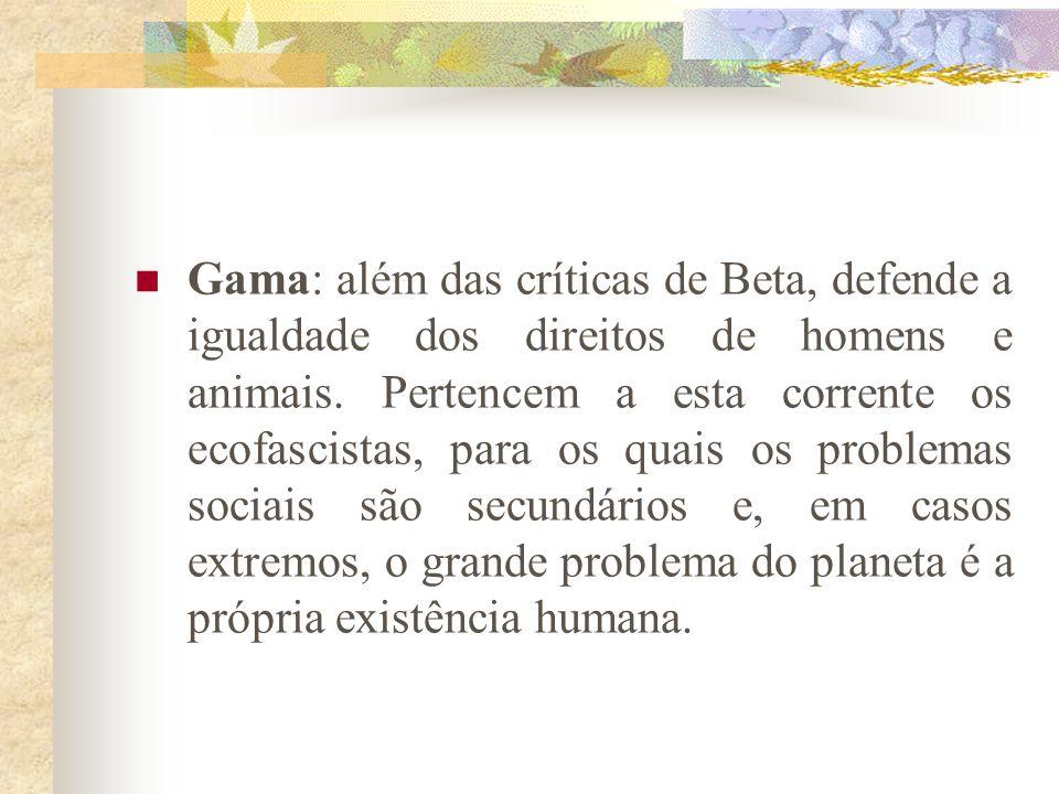 Classificação (Leis, 1992) – perspectiva evolucionista Alfa : primeiro e rudimentar ecologismo. Preocupações com a conservação das espécies e redução